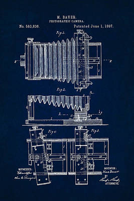 Digital Art - 1897 Camera Us Patent Invention Drawing - Dark Blue by Todd Aaron