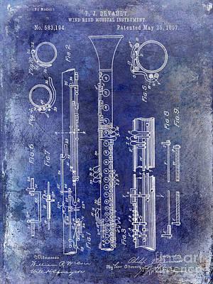 Clarinet Wall Art - Photograph - 1897 Clarinet Patent Blue by Jon Neidert