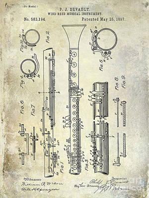Musical Photograph - 1897 Clarinet Patent  by Jon Neidert