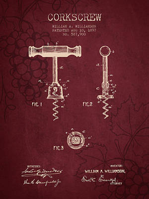 1897 Corkscrew Patent Drawing - Red Wine Art Print by Aged Pixel