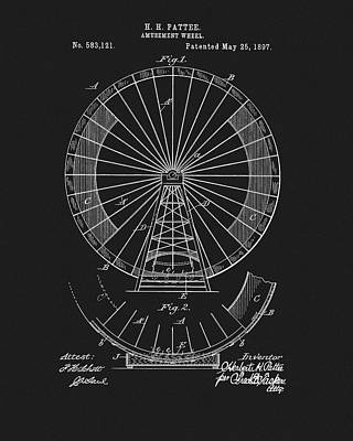 Youth Mixed Media - 1897 Ferris Wheel Patent by Dan Sproul