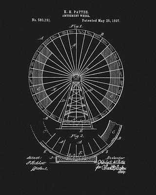 Summer Fun Mixed Media - 1897 Ferris Wheel Patent by Dan Sproul