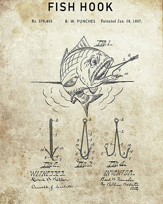 Animals Drawings - 1897 Fishing Hook Patent by Dan Sproul