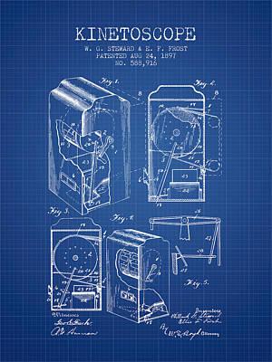 1897 Kinetoscope Patent - Blueprint Art Print by Aged Pixel