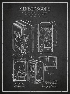 Camera Digital Art - 1897 Kinetoscope Patent - Charcoal by Aged Pixel