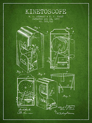 Motion Drawing - 1897 Kinetoscope Patent - Green by Aged Pixel