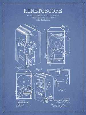 1897 Kinetoscope Patent - Light Blue Art Print by Aged Pixel