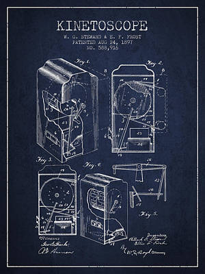 Motion Drawing - 1897 Kinetoscope Patent - Navy Blue by Aged Pixel