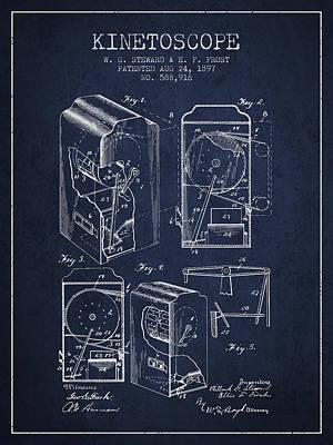 1897 Kinetoscope Patent - Navy Blue Print by Aged Pixel