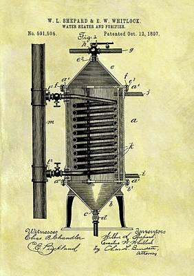 1897 Water Heater Patent Art Print