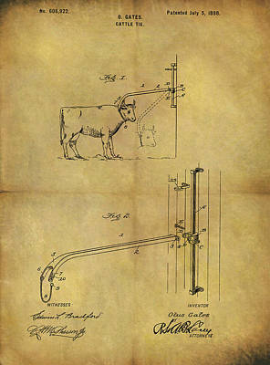 Mixed Media - 1898 Cattle Tie Patent by Dan Sproul