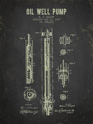 Wild Weather - 1898 Oil Well Pump Patent - Dark Grunge by Aged Pixel