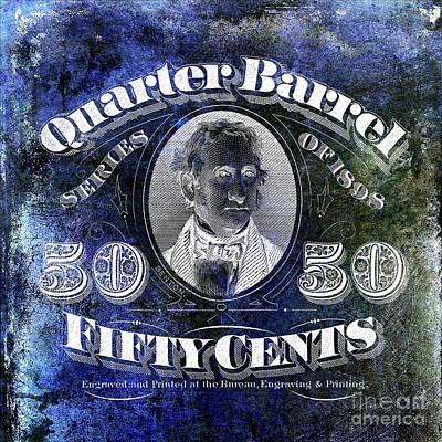 1898 Photograph - 1898 Quarter Beer Barrel Tax Stamp Blue by Jon Neidert
