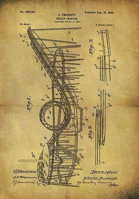 Spinning Drawing - 1898 Roller Coaster Patent by Dan Sproul