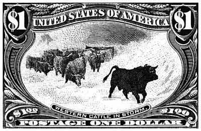 Painting - 1898 Western Cattle In Storm Stamp by Historic Image