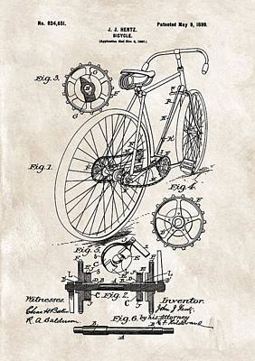 1899 Bicycle Patent Art Print by Dan Sproul