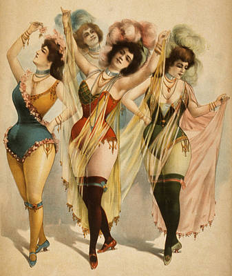 Photograph - 1899 Burlesque Women by Courier Litho