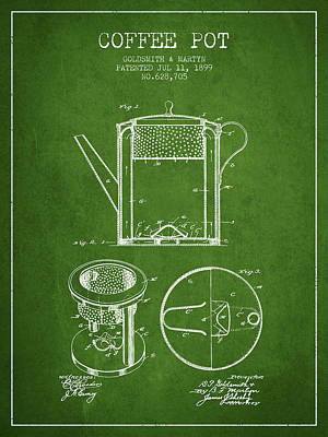 Java Drawing - 1899 Coffee Pot Patent - Green by Aged Pixel
