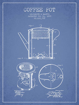 House Drawing - 1899 Coffee Pot Patent -  Light Blue by Aged Pixel