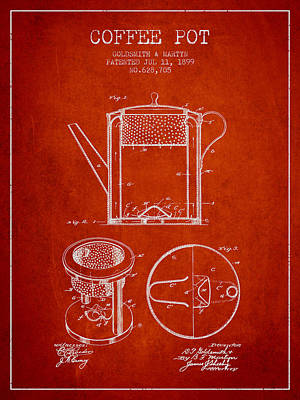 House Drawing - 1899 Coffee Pot Patent - Red by Aged Pixel
