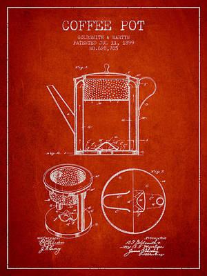 1899 Coffee Pot Patent - Red Art Print