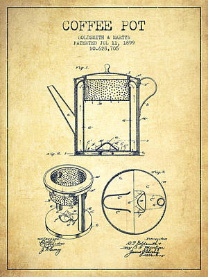 Pot Drawing - 1899 Coffee Pot Patent - Vintage by Aged Pixel