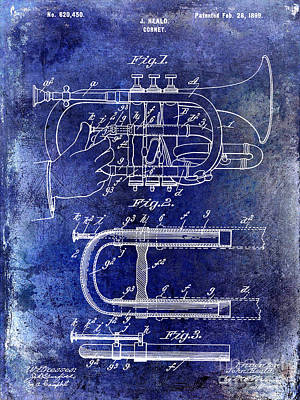Vintage Music Photograph - 1899 Cornet Patent Blue by Jon Neidert