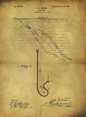 Animals Drawings - 1899 Fish Hook Patent by Dan Sproul