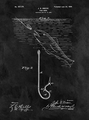 Drawing - 1899 Fishing Hook Patent by Dan Sproul