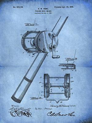 Pole Drawing - 1899 Fishing Reel Patent Blue by Dan Sproul