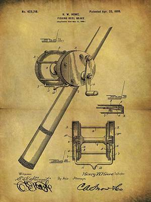 Animals Drawings - 1899 Fishing Reel Patent by Dan Sproul