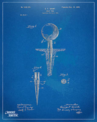 Concept Drawing - 1899 Golf Tee Patent Artwork - Blueprint by Nikki Marie Smith