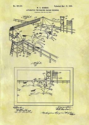 Animals Drawings - 1899 Horse Racing Track Patent by Dan Sproul