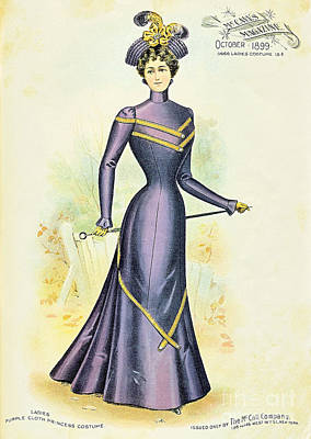 Drawing - 1899 Ladies Purple Cloth Princess Costume Mc Calls Magazine 1899 New York  Ladies Costume by R Muirhead Art