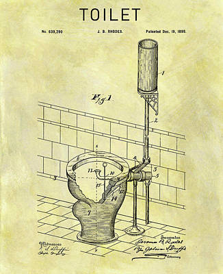 Plumber Drawing - 1899 Toilet Patent by Dan Sproul