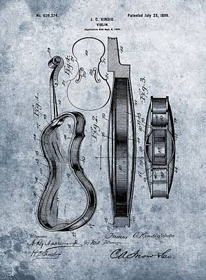 Violin Drawing - 1899 Violin Blue Patent by Dan Sproul