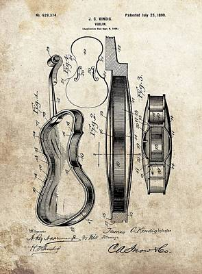 Musicians Drawings - 1899 Violin Patent Illustration by Dan Sproul
