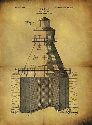 Lighthouse Drawing - 1899 Wave Motor Patent by Dan Sproul