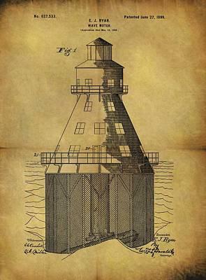 Beach Drawings - 1899 Wave Motor Patent by Dan Sproul