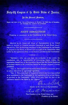 Fed Digital Art - 18th Amendment That Launched Prohibition 1917 by Daniel Hagerman