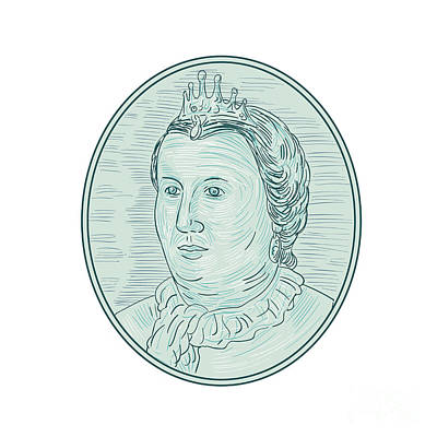 18th Century European Empress Bust Oval Drawing Art Print