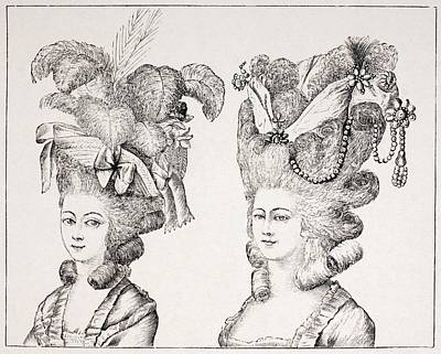 18th Century French Girls Wearing Print by Vintage Design Pics