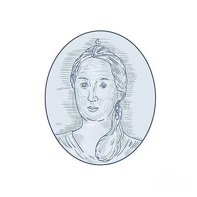 18th Century Russian Empress Bust Oval Drawing Art Print