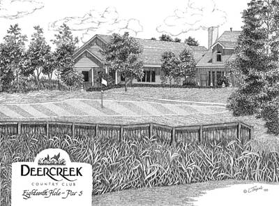 Drawing - 18th Hole - Deercreek Country Club by Lawrence Tripoli