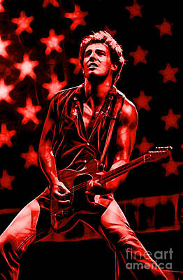 Bruce Springsteen Collection Print by Marvin Blaine