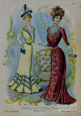 Drawing - 19 Century Ladies Fashion The Delineator Walking And Calling Gowns by R Muirhead Art