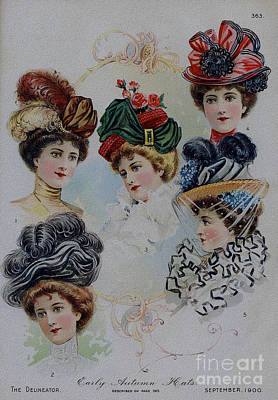 Drawing - 19 Century Ladies Hats The Delineator Early Autumn Hats by R Muirhead Art