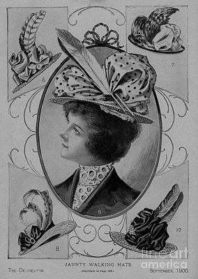 Drawing - 19 Century Ladies Hats The Delineator Jaunty Walking Hats by R Muirhead Art
