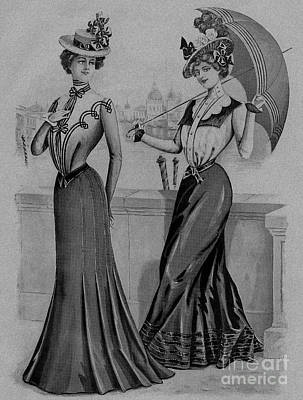 Drawing - 19 Century Ladies Umbrella  The Delineator Jaunty Walking Umbrella by R Muirhead Art