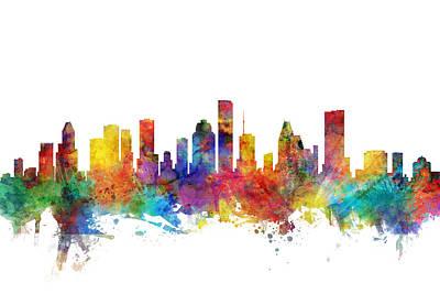 Digital Art - Houston Texas Skyline by Michael Tompsett